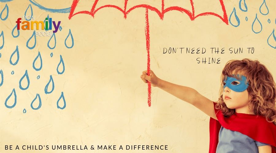 Girl holding umbrella - you can protect her by adopting or fostering her - join now